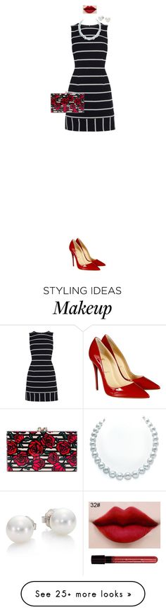 """""""Red rose Outfit"""" by sarahlong3019 on Polyvore featuring Christian Louboutin, Karen Millen, Charlotte Olympia, Mikimoto, AG Adriano Goldschmied, outfit, stripes, Elegant, roses and partystyle"""
