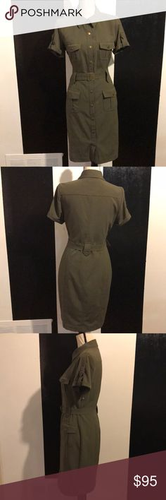Calvin Klein Military Style Olive Dress So sad this is not my size!  The perfect amount of trendy and edginess!  Wear to the office or happy hour!!!  Size 8.  Buttons all the way down with belt. Dresses