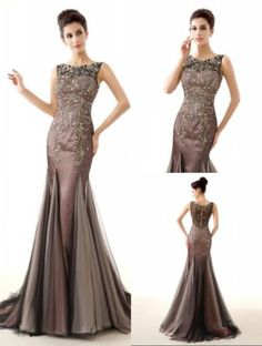 Crystal-Beaded-Formal-Mermaid-Evening-dress-Sexy-Cocktail-Pageant-Prom-Gown-New