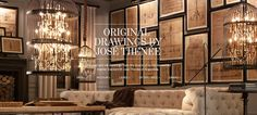 Original Drawings by Jose Thenee - these particular drawings are far beyond my budget (items from Restoration Hardware usually are,) but this look is achievable with other drawings.