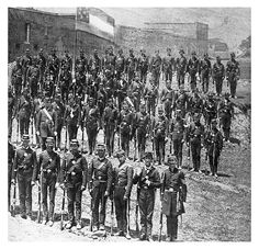 "Sumter Light Guards standing at attention, Augusta, Ga., April 1861. Great Image of the ""boys""..."
