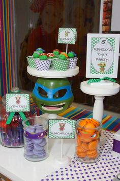 TMNT Ninja Turtles themed birthday party via Kara's Party Ideas: Props & Styling
