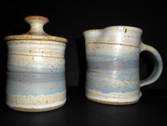 STUDIO ART POTTERY Sugar Bowl w/ Lid & Pitcher Speckled White Blue Tan Signed