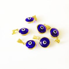 5 Navy Blue Evil Eye Gold Plated  Protection by LibertaDesign, $5.00