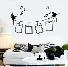 Vinyl Wall Decal Photo Frames Birds Music Home Decor Stickers Unique Gift Wall Painting Frames, Simple Wall Paintings, Creative Wall Painting, Creative Wall Decor, Wall Painting Decor, Creative Walls, Creative Ideas, Family Wall Decor, Tree Wall Decor