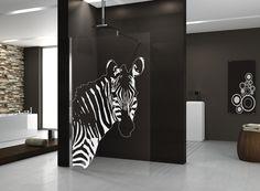 Glazen douchewand voor de inloopdouche met print naar keuze - douchedeur Kuadra van Novellini