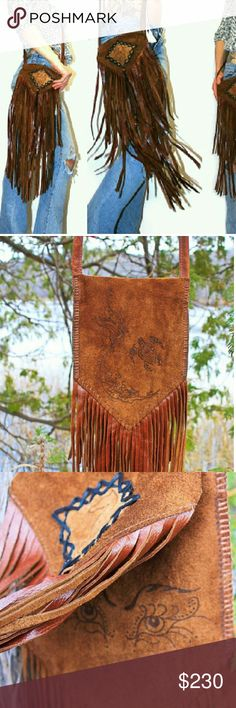 "Leather Fringe Hippie Purse with mermaid. Handmade by me! Brown genuine leather long Fringe Purse. Made from a beautiful 3.5 ounce cowhide. 2 layers of handcut Fringe. I used a wood burner to draw the Mermaid and sea turtle on the back side of the Purse, under the front flap I burned Mermaid eyes, and the front flap has a cute little sea horse patch. Long cross body strap. Lots of detail and love went into this Purse. Strong yet soft leather. Made to last.  Measures 8"" wide 11"" tall (without…"