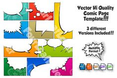 Color Comic Book Page Template Set3 by FourLeafLover on Creative Market