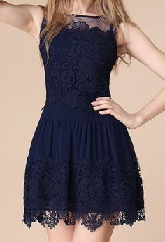 Cute Round Neck Sleeveless Solid Color See-Through Women's Dress