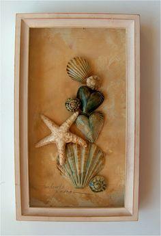 seashells in a frame