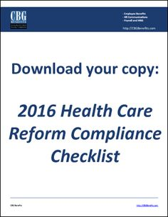 Download Health Care Reform YearEnd Checklist For