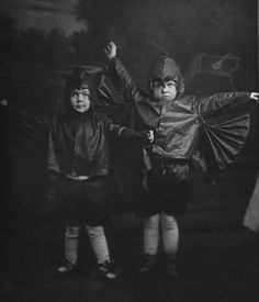 Jane and Mary Alice Cunningham in Halloween Bat costumes c.1919