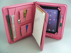 Pink Leather iPad 2 Case Portfolio Cover with Notepad Folio for Holding Paper for Apple iPad Air and iPad Air 2 by leathercase on Etsy https://www.etsy.com/listing/130503192/pink-leather-ipad-2-case-portfolio-cover