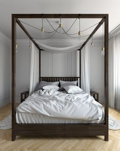The classic canopy bed has been brought up to date by doing away with the canopy itself; the simplicity of a four poster bed – often embellished with streamlined or pared-down additions – makes it appropriate for modern and masculine bedrooms.