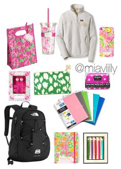 """""""What's in my BookBag!"""" by miavlilly ❤ liked on Polyvore featuring interior, interiors, interior design, home, home decor, interior decorating, The North Face, Lilly Pulitzer, Kate Spade and Patagonia"""