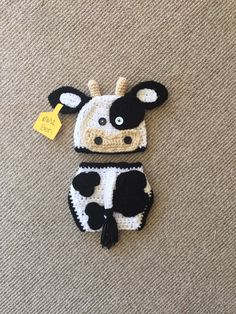 Boy Black and White Crochet Cow Hat and Diaper Cover - Farm Animals - Photo Prop - Available in Any Size or Color Combo by DanitasBoutique on Etsy