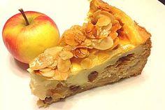 German language, German Baked Apple Cake with Cinnamon & Marzipan, Bratapfelkuchen mit Zimt & Marzipan