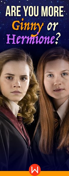 Take this fun HP quiz to see if you're Ginny or Hermione! About yourself quiz, fun quizzes, personality test, potter random questions, personality quizzes, girl quiz, Buzzfeed Quizzes, Playbuzz quiz, who am I Harry Potter. Harry Potter Quizzes. Are you a fierce Weasley or a clever Granger?