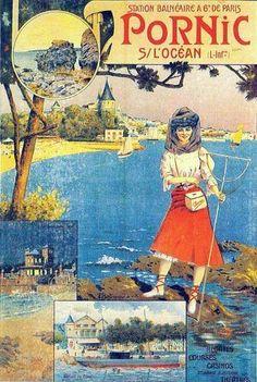 Vintage Travel Poster - Pornic sur l'Ocean - Bretagne.