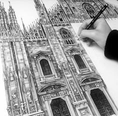 Work by minty sainsbury pencil / pen / color pencil drawing Cathedral Architecture, Architecture Art, Architecture Sketchbook, School Architecture, Nantes France, Milan Cathedral, Architectural Prints, A Level Art, Amazing Drawings