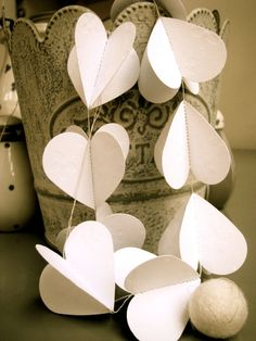 Wedding garland, WHITE HEARTS Garland/Mobile in 3d, weddings, party, great gift, SALE