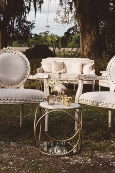 Snyder's Louis Lounge with Orbits Side Table | Vintage Southern Wedding at Magnolia Plantation Carriage House by Charleston Wedding Planner ELM Events