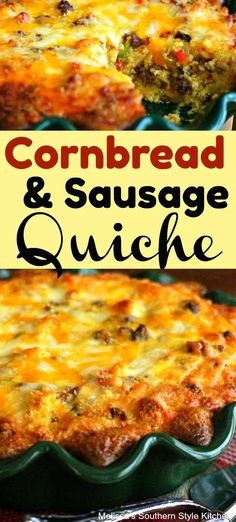 This Cornbread and Sausage Quiche is a delectable, and unexpected way, to enjoy Southern cornbread for a special brunch or breakfast. Quiche Recipes, Egg Recipes, Cooking Recipes, Salad Recipes, Pan Dulce, Easy Appetizer Recipes, Brunch Recipes, Brunch Ideas, Gourmet