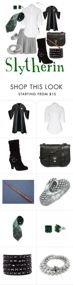"""""""Slytherin"""" by goldenfirefly85 ❤ liked on Polyvore featuring Steffen Schraut, Proenza Schouler, Zoe & Morgan, Fantasy Jewelry Box, Chan Luu, Pippo Perez, AS29 and slytherin"""