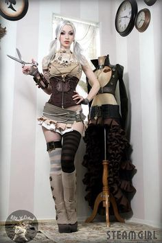 steampunk girl...the costume on the dress form