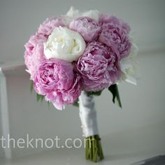 Pink and white peonies, with satin and lace.