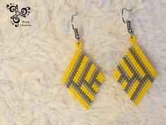Items similar to Yellow and Grey earring with Miyuki beads on Etsy Brick Stitch Earrings, Seed Bead Earrings, Beaded Earrings, Beaded Jewelry Patterns, Beading Patterns, Beaded Clutch, Bead Jewellery, Beads And Wire, Bead Weaving