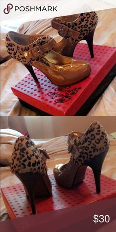 "8 1/2  ""Naughty monkey ""  DSW Black and nude leopard print almond toe mary jane pumps naughty monkey Shoes Heels"