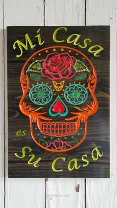 Mi Casa es Su Casa Sugar Skull Art Wood Welcome Sign Spanish Welcome Wood Welcome Wooden Home Decor Wall Art Sign Day of the Dead Wall Art : Mi Casa es Su Casa Sugar Skull Art Wood by greencottagedesign Skull Decor Diy, Sugar Skull Decor, Sugar Skull Art, Sugar Skulls, Wood Home Decor, Home Decor Wall Art, Home Decor Accessories, Decorative Accessories, Skull Wall Art