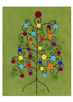 Handmade Christmas Card Christmas Button Tree Multi-colored Buttons Blank Cards via Etsy