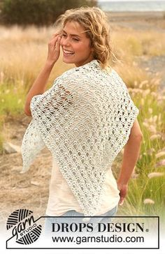 shawl by Drops Design - Crochet free pattern and diagram Gilet Crochet, Crochet Cardigan, Crochet Scarves, Crochet Clothes, Knit Crochet, Shawl Patterns, Crochet Patterns, Drops Patterns, Knitting Patterns