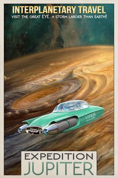 """""""this Expedition Jupiter poster of mine fits perfectly here"""" ~retro-futurism Science Fiction Kunst, Movies And Series, Cool Posters, Space Posters, Vintage Space, Space Travel, Space Tourism, Robot Art, Sci Fi Fantasy"""