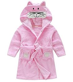 Unisex Kids Hooded Terry Robe Cute Cat Cartoon Animal Coral Fleece Bathrobe Childrens Pajamas Sleepwear Babys Hoodie Bath Towel Soft Plush Velvet Shawl Wrap for Girls Boys 110cm 3T4T Pink Cat ** You can find more details by visiting the image link.