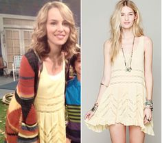 Teddy Duncan (Bridgit Mendler) wears a Free People Voile and Lace Trapeze Slip in the color Lemon Combo on the set of Good Luck Charlie Season 4.