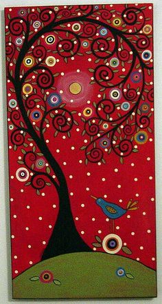 Red polka dot background canvas art tree