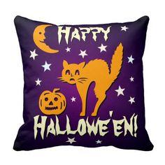 Happy Halloween Orange Cat Jack o Lantern Moon Pillow