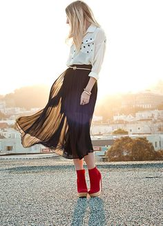 Red boots long brown skirt!