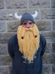 Viking hat/ viking helmet with full beard by cleverclothesline, $45.00