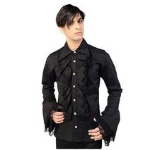 Ruffle Black Button Shirt