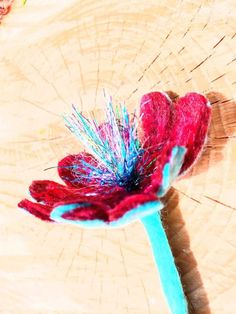 Hand made felted. Merino and sparkly recycling ribbons. Cherry Flower brooche for dress or jeans jacket, coat or keyring or bookmarks. Nice wraping for free. Ready to go Art Flowers, Flower Art, Flower Brooch, Brooch Pin, Poppy Brooches, Red Poppies, Xmas Gifts, Wool Felt, Bookmarks