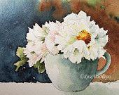 Peonies Original Watercolor Painting Floral