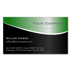 Green Steel Effect Professional Business Card