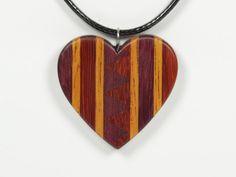 Wooden Heart Pendant Mosaic Heart Pendant Heart Necklace