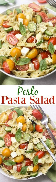 Pesto Pasta Salad with fresh tomatoes and mozzarella cheese. An easy summer side dish with only 5 ingredients!   Tastes Better From Scratch