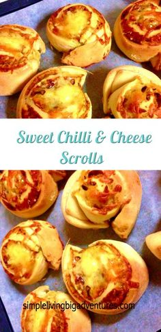Delicious Sweet Chilli cheesy scrolls - easy to make and great for school lunches or as an accompaniment to any meal Easy Bread Recipes, Simple Recipes, Yummy Food, Tasty, Sweet Chilli, Allrecipes, Easy Meals, School Lunches, Cooking