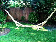 DIY Hammock Stand I swear I wasn't looking for this Mack, it just appeared on the DIY page! If nothing else, we could contract a furniture maker to just make it for us, you know, correctly. Hammock Frame, Diy Hammock, Backyard Hammock, Hammock Stand, Hammock Ideas, Hammocks, Camping Hammock, Backyard Projects, Diy Wood Projects